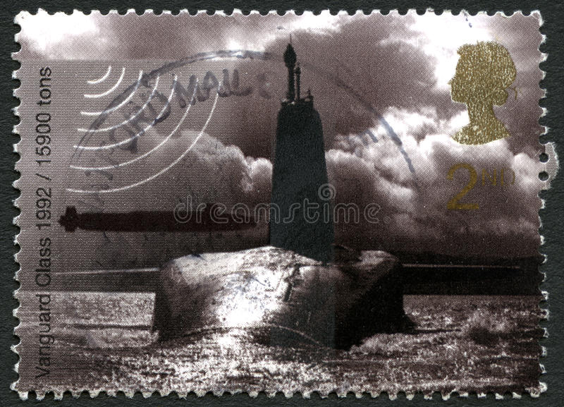 Vanguard Class Submarine UK Postage Stamp. GREAT BRITAIN - CIRCA 2010: A used postage stamp from the UK, depicting an image of a Vanguard class nuclear Submarine royalty free stock images