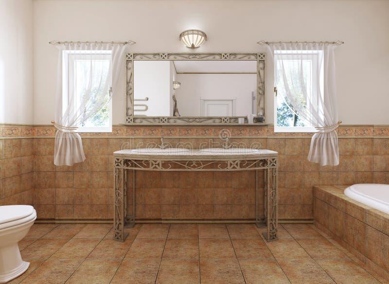 Vanidades forjadas del cuarto de baño con un espejo y un lavabo en el estilo clásico del cuarto de baño stock de ilustración