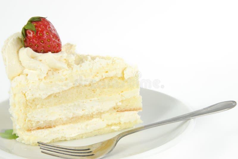 vanilj för cakejordgubbeöverkant fotografering för bildbyråer