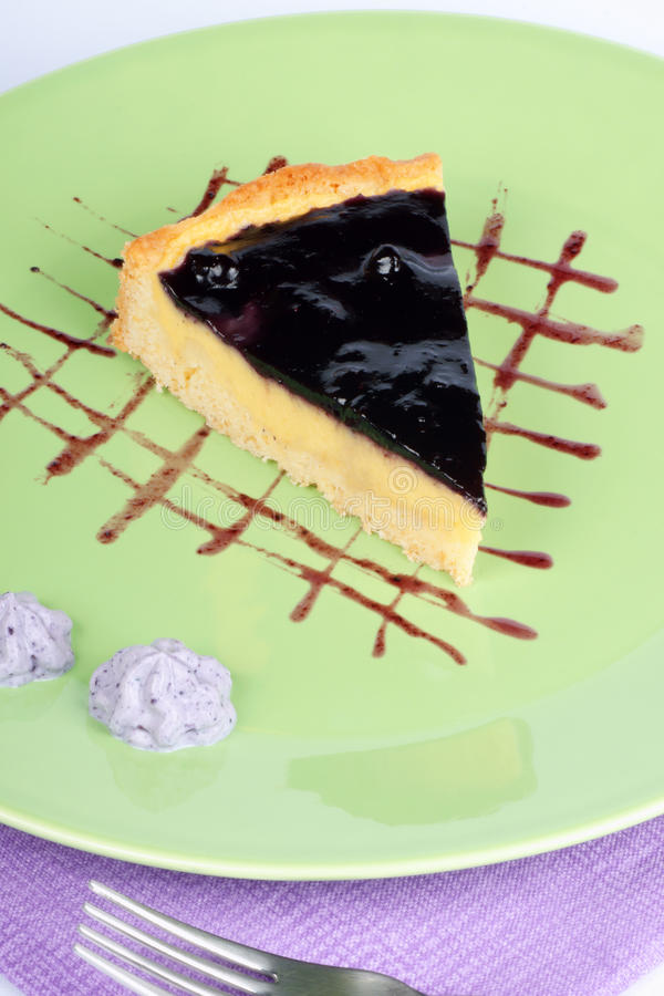 vanilj för kräm- custard för blåbär syrlig arkivbilder