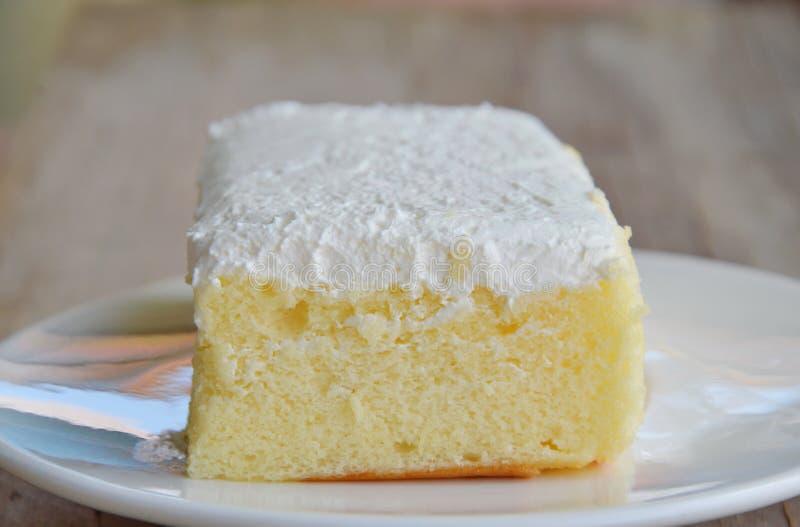 Vaniljanstrykning mjölkar den kräm- kakan på maträtt arkivfoton