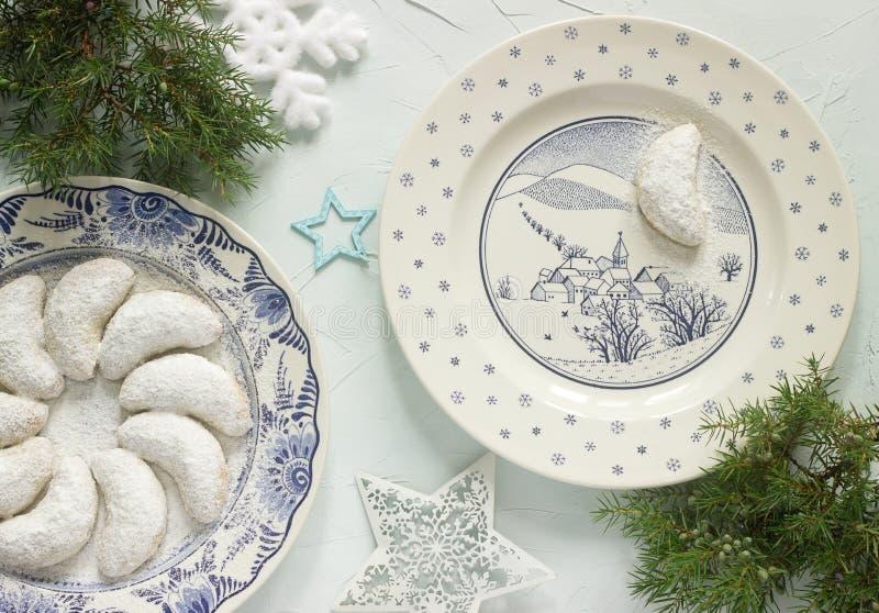Vanilkipferl - vanillehalve manen, traditionele Kerstmiskoekjes in Duitsland, Oostenrijk, Tsjechische Republiek stock foto
