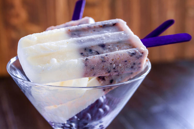 Vanilla, Blueberry and Coconut Milk Popsicles stock image