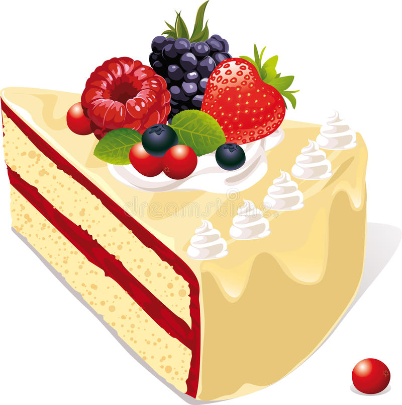 Download Vanilla cake with berries stock vector. Image of cute - 26655149