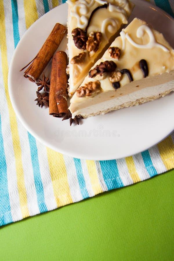 Vanilla cake and coffee stock photo
