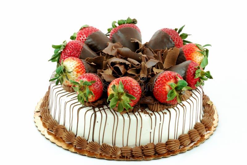 Vanilla cake with strawberries royalty free stock image