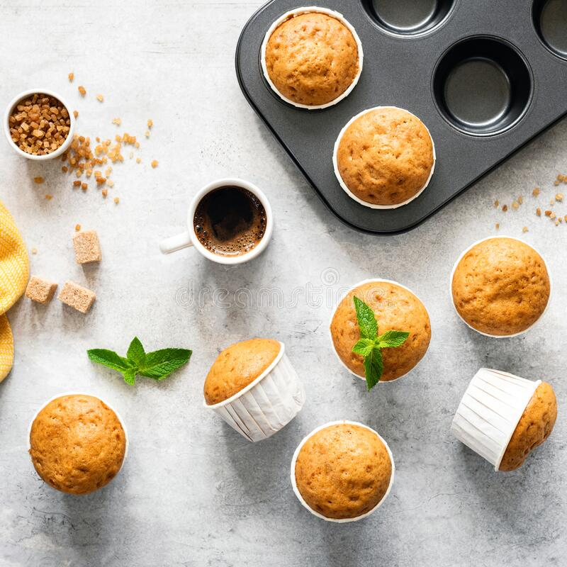 Vanilla caramel muffins, top view royalty free stock photography