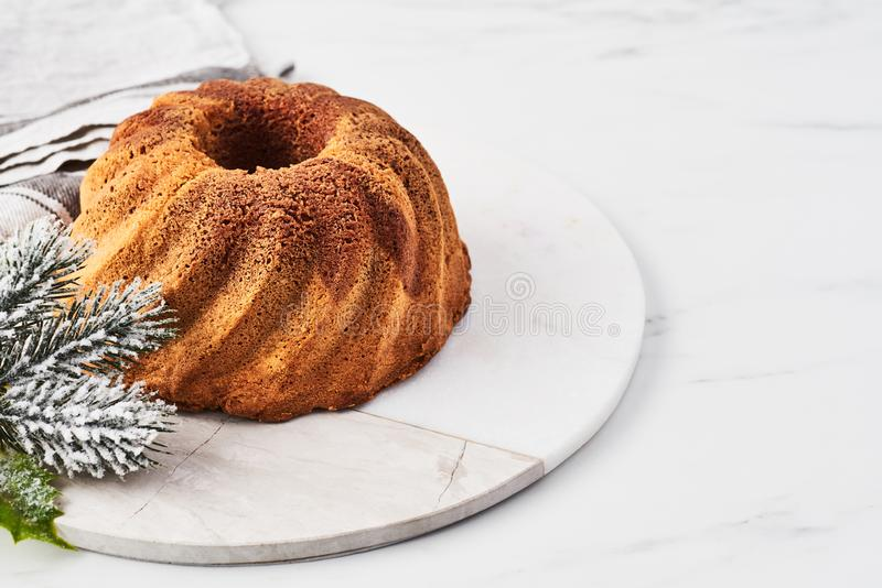 Vanilla and chocolate marble bundt cake stock photos