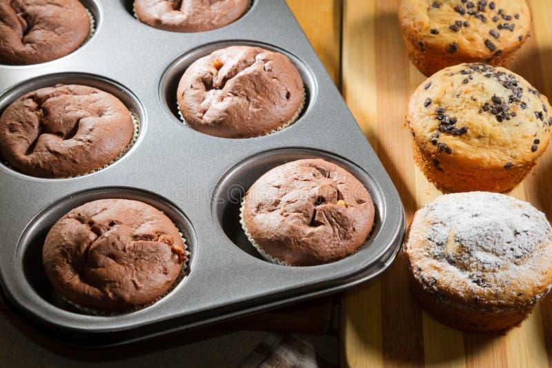 Vanilla and chocolate muffins royalty free stock image