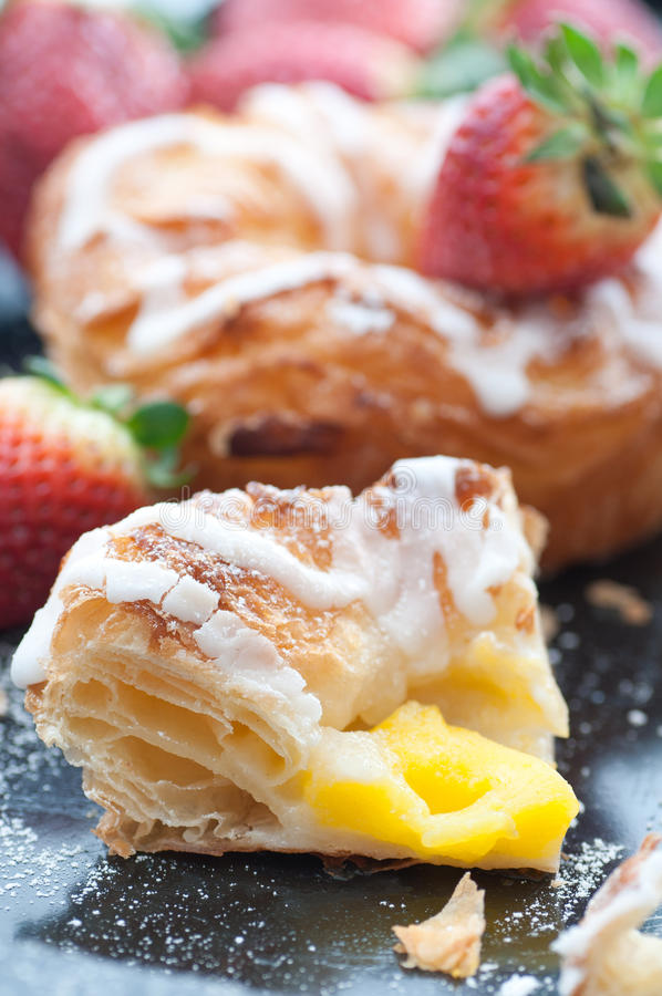 Vanilla Cream Filled Danish Pastry royalty free stock image