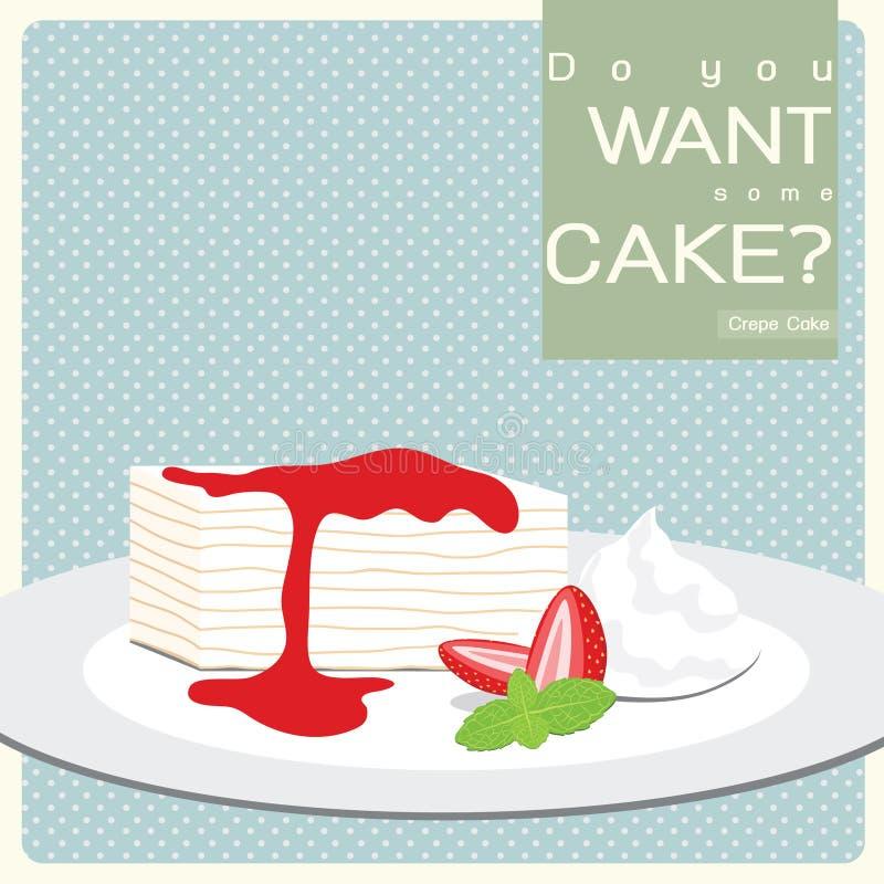 Vanilla Crepe Cake With Strawberry Sauce Stock Image