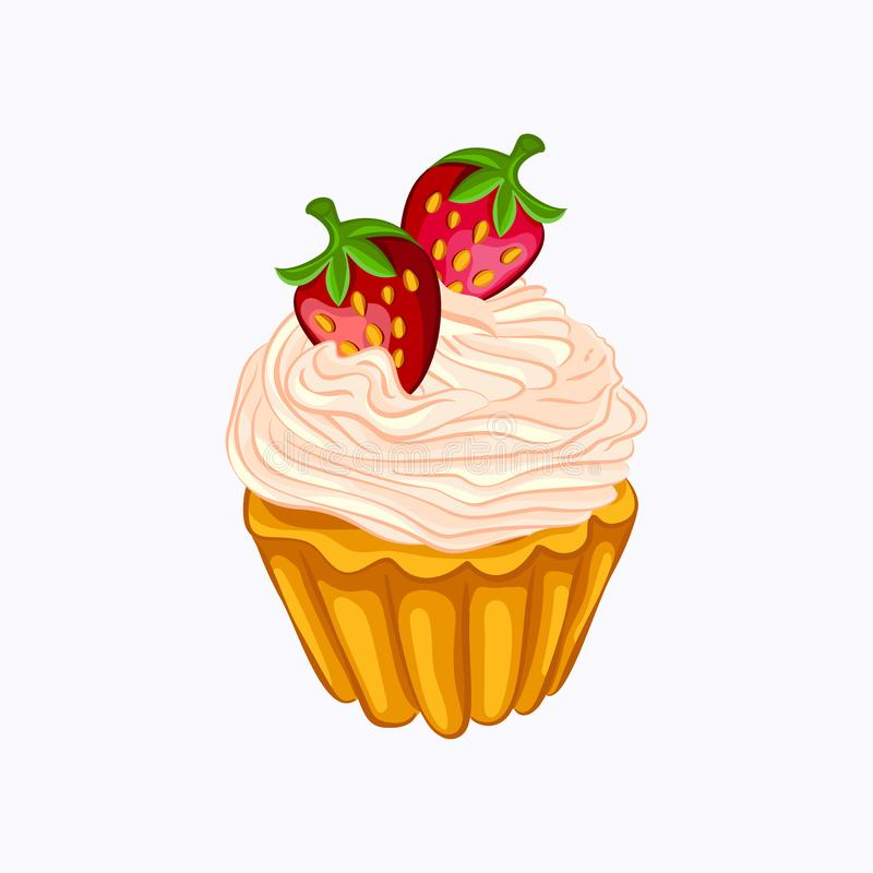 Vanilla cupcake with cream and strawberry isolated stock illustration