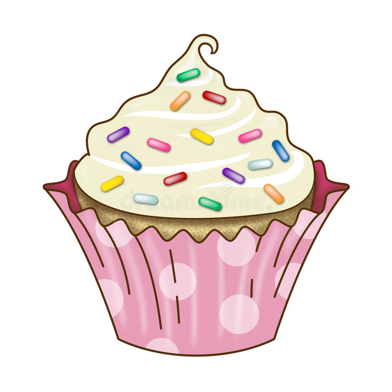 Free Vanilla Cupcake Icing Rainbow Sprinkles Stock Image - 38820181