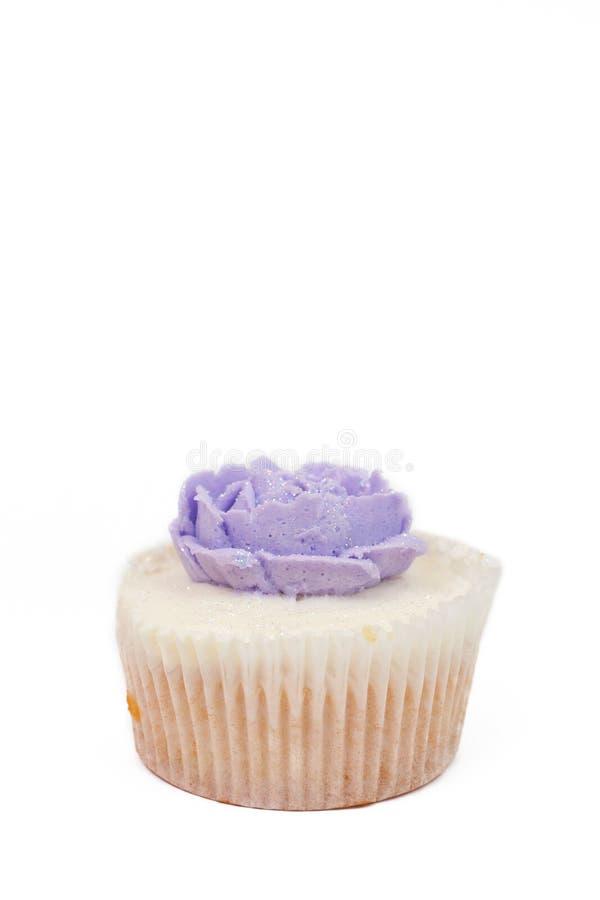 Vanilla Cupcake With Rose Topping Stock Photos