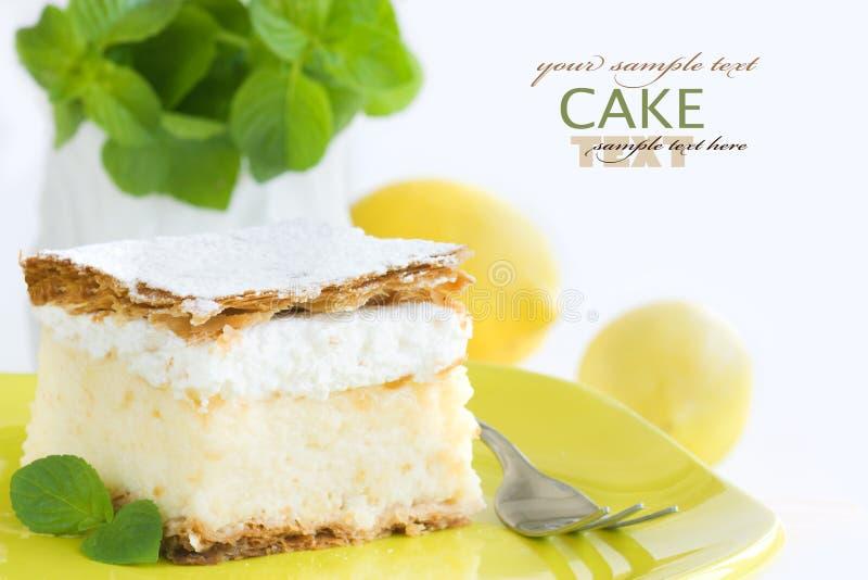 Vanilla custard cream cake stock photo
