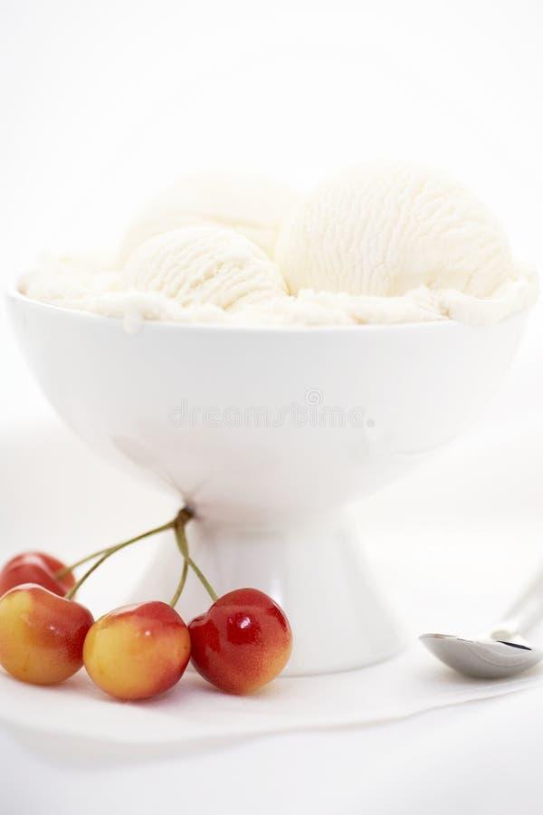Vanilla ice cream, cherry stock photography