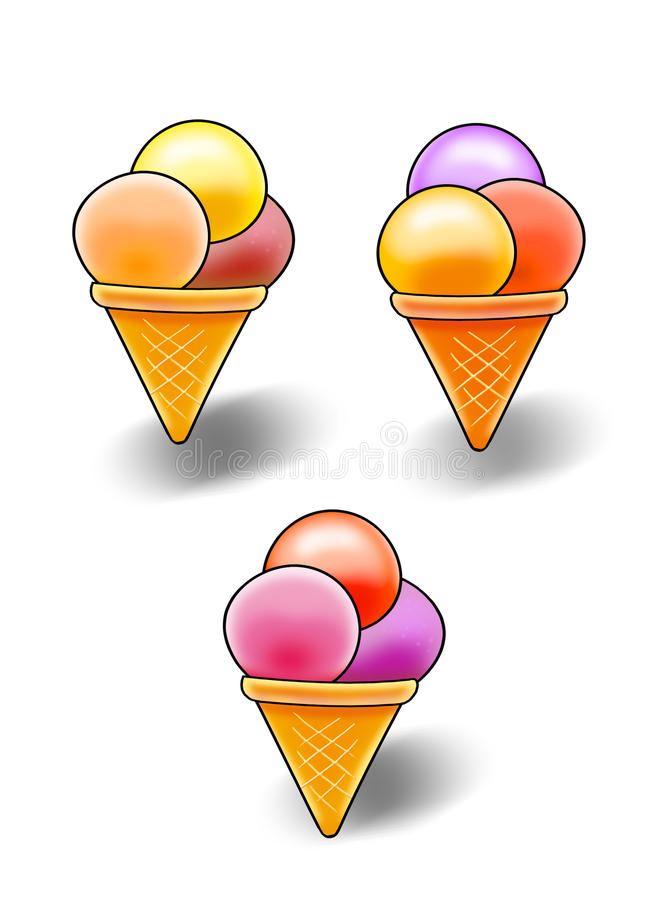 Vanilla Ice Cream and Fruit, clip art. Digital Illustration. Different tasty, sweet ice-cream in cone. Colorful details of Ice Cream on white (or transparent) royalty free illustration