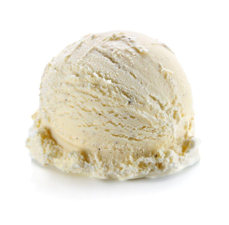 Vanilla ice cream scoop isolated on white background royalty free stock photography