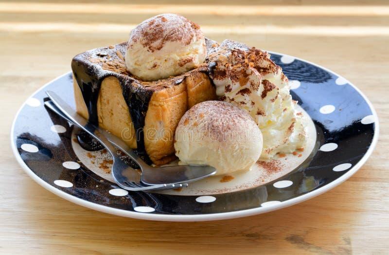 Download Vanilla Ice Cream On Toasted Bread Stock Image - Image: 36625763