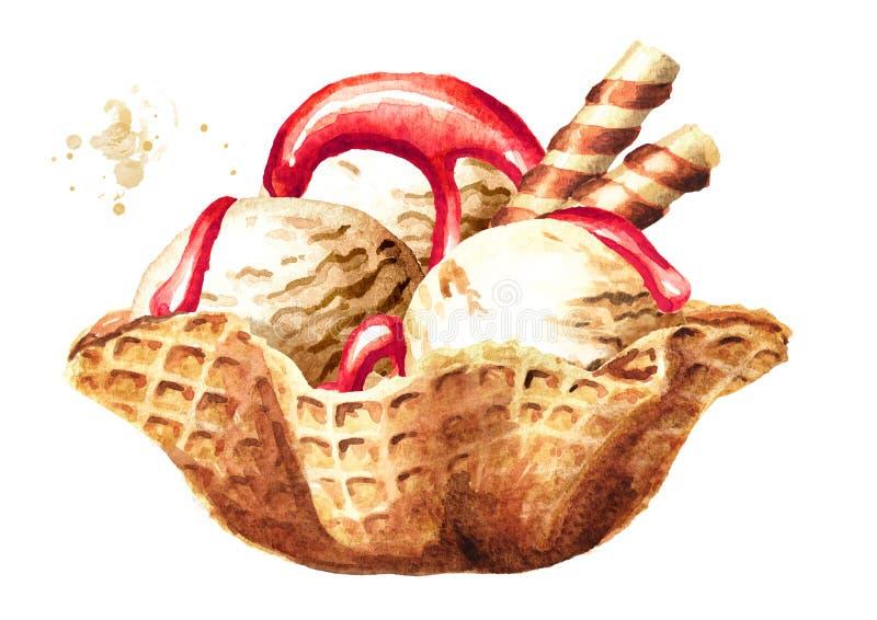 Vanilla Ice kräm med sirap i dillandebunke Dragen illustration för vattenfärg som hand isoleras på vit bakgrund vektor illustrationer