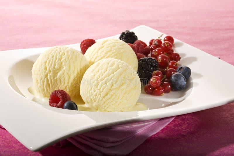 Vanilla icecream and various berries