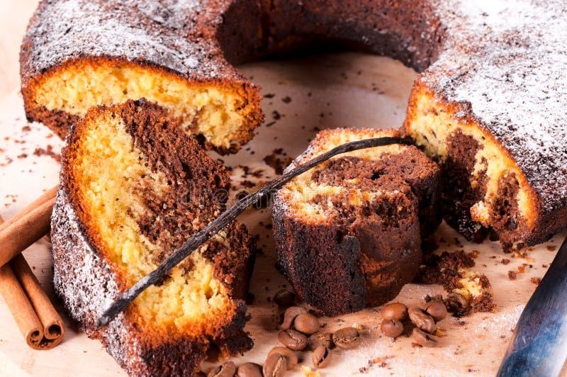 Vanilla nad coffe cake stock photo