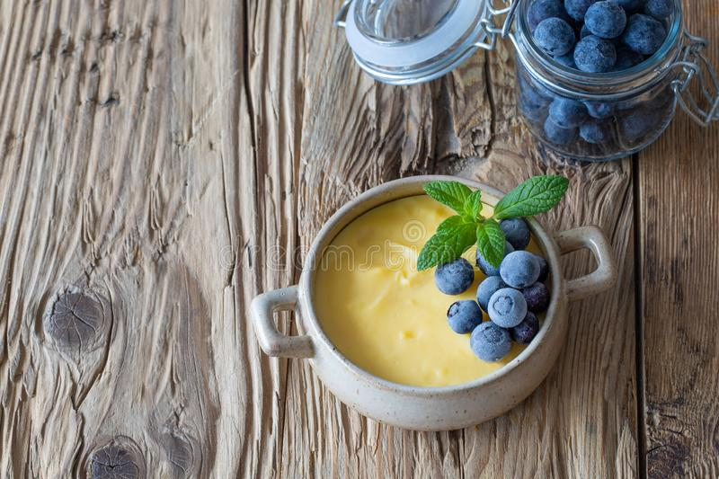 Vanilla Pudding with frozen blueberries royalty free stock photos