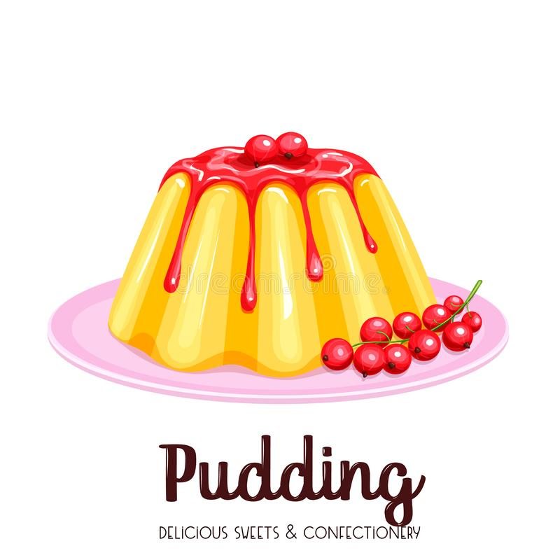 Vanilla pudding with syrup. Icon. Vector illustration dessert with red currant vector illustration