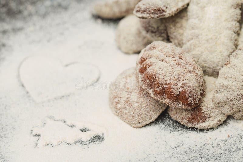 Vanilla rolls. Christmas chocolate cake with sugar royalty free stock photos