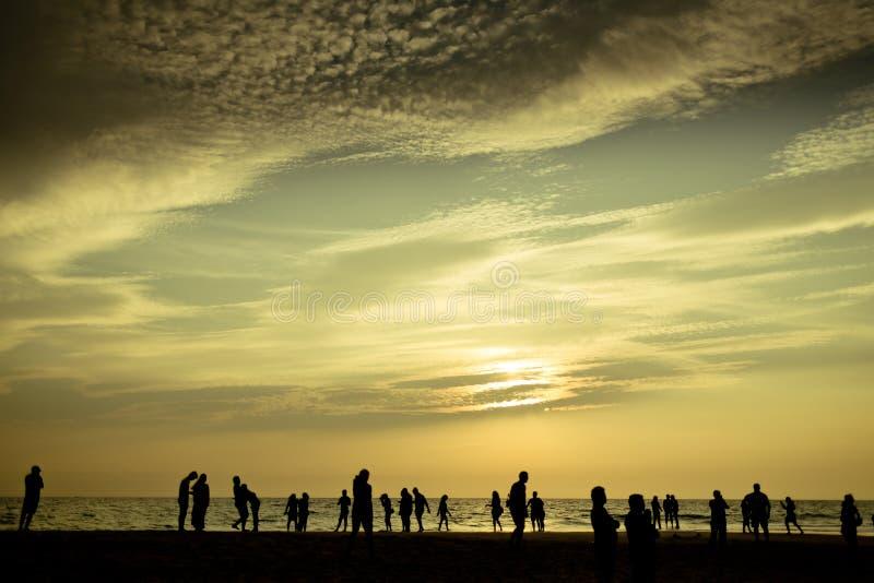 Vanilla sky silhouette on the ocean coast. Sunset on ocean coast India royalty free stock image