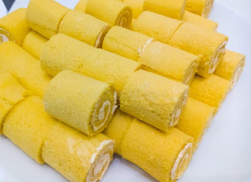 Vanilla sponge cake roll stock image