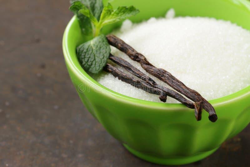 Vanilla sugar with natural vanilla pods royalty free stock images
