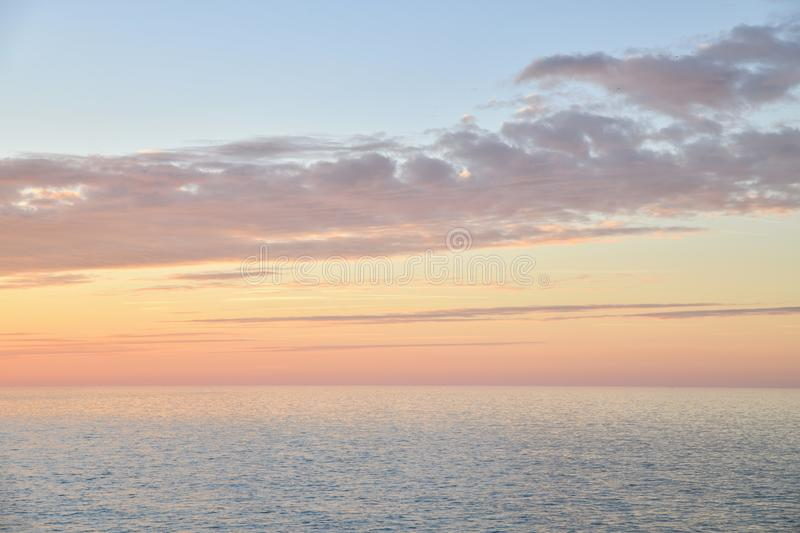 Vanilla sunset on the Atlantic ocean in Normandy. Vanilla sunset on the Atlantic ocean royalty free stock photography
