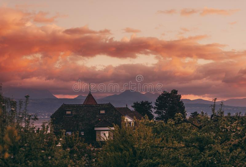 Vanilla sunset over Lake Geneeva. Switzerland royalty free stock images