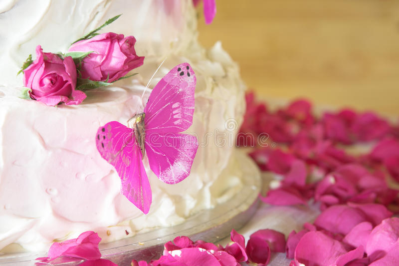 Vanilla Wedding Cake Stock Photo