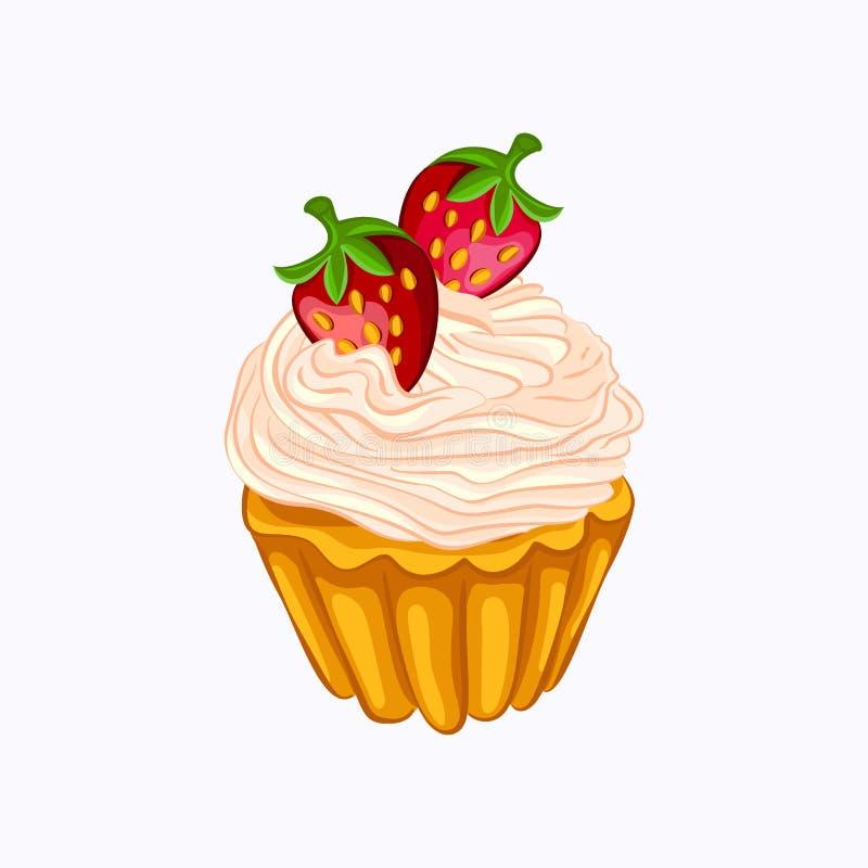 Vanille cupcake met geïsoleerde room en aardbei stock illustratie