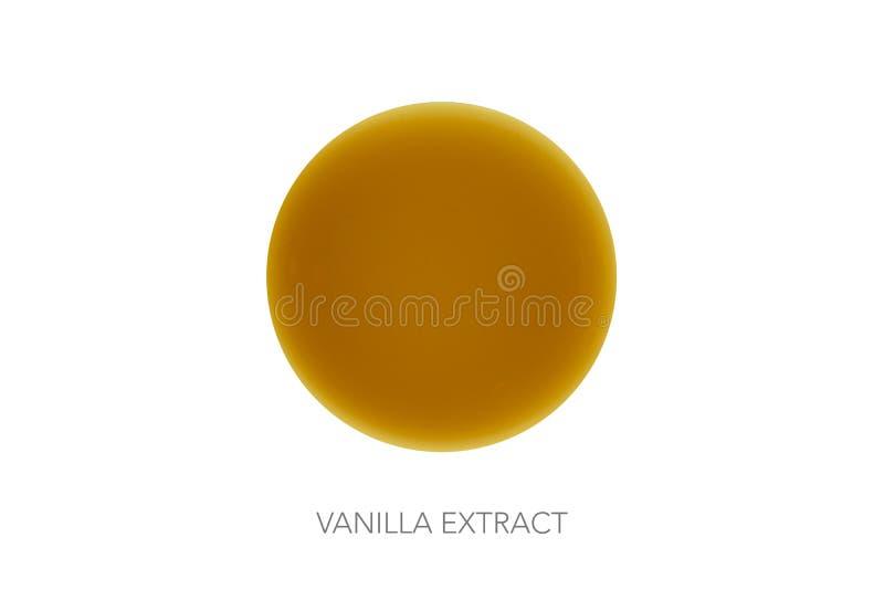 Vanille-Extrakt auf rundem Kreisglasball stockbild