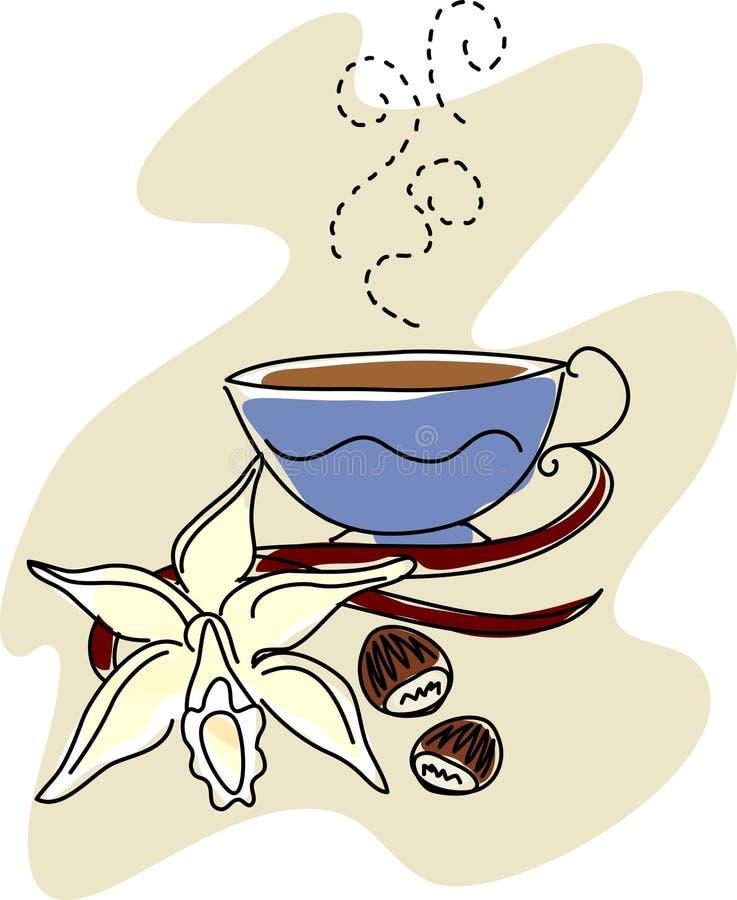 Vanille met Hazelnoten en Koffie stock illustratie