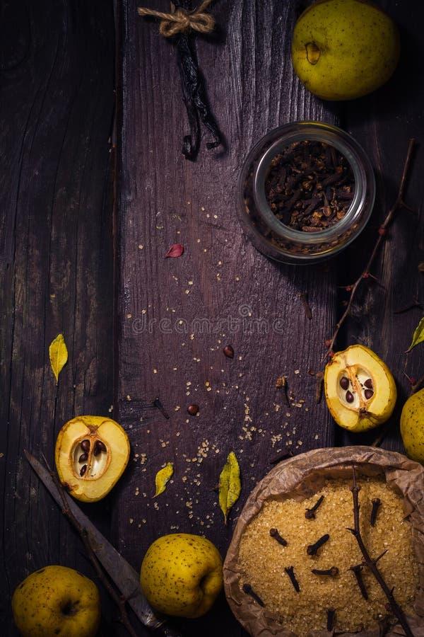 Vanille W de clous de girofle de sucre de coing de brindilles de fruits de teintures d'ingrédients image libre de droits