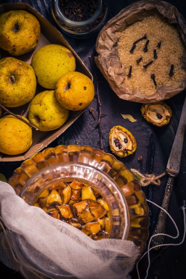 Vanille W de clous de girofle de sucre de coing de brindilles de fruits de teintures d'ingrédients image stock