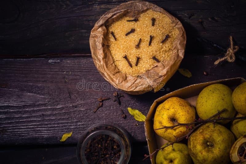 Vanille W de clous de girofle de sucre de coing de brindilles de fruits de teintures d'ingrédients photo libre de droits