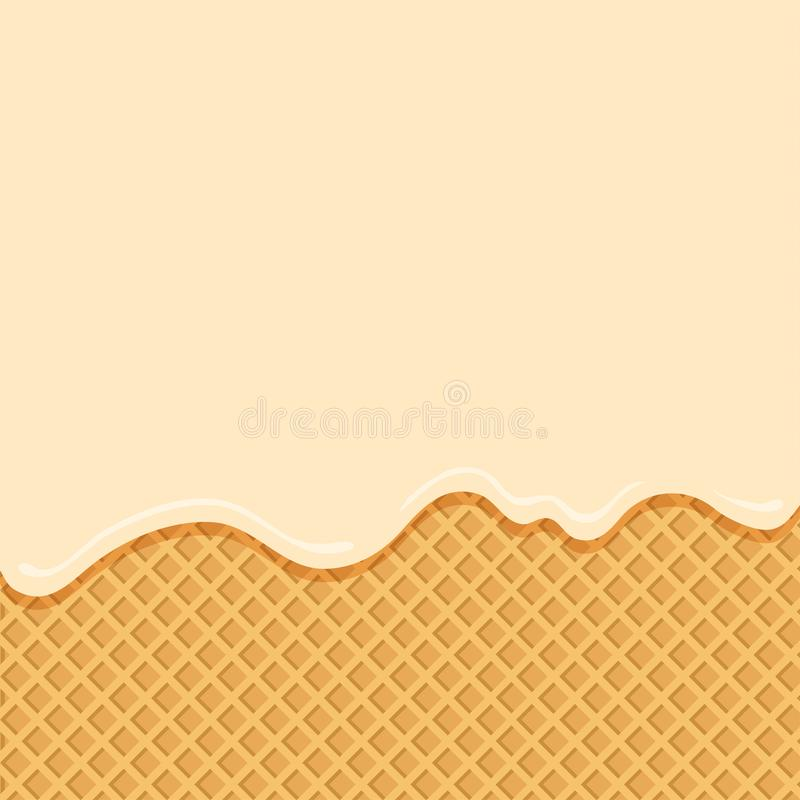 Vanilleeis, der unten auf Oblatenhintergrund fließt Vektor lizenzfreie abbildung