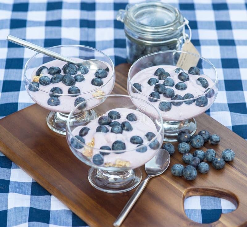 Vanillejoghurt mit frischen Blaubeeren zum Frühstück lizenzfreie stockbilder