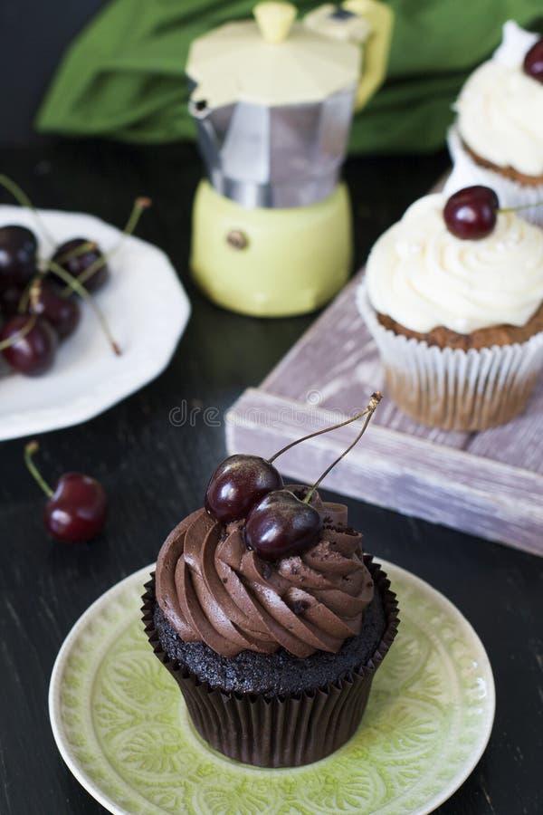 Vanillekleine kuchen und Schokoladenkleine kuchen mit Kirschen, eine Platte O lizenzfreies stockfoto