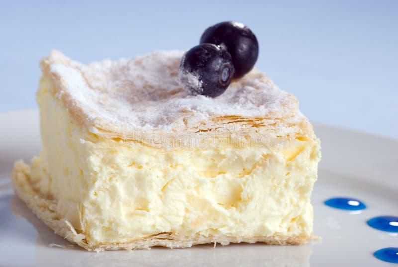 Vanillepuddingkuchenquadrat auf einer Platte mit Blaubeeren lizenzfreie stockbilder