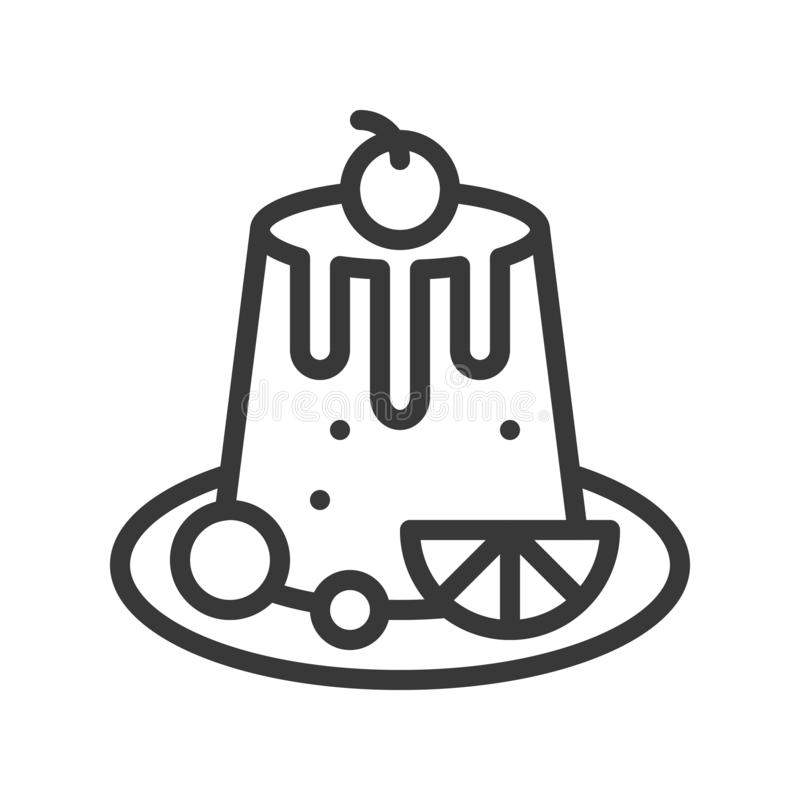 Vanillepuddingpudding, Bonbons und Nachtischentwurfsikone stock abbildung