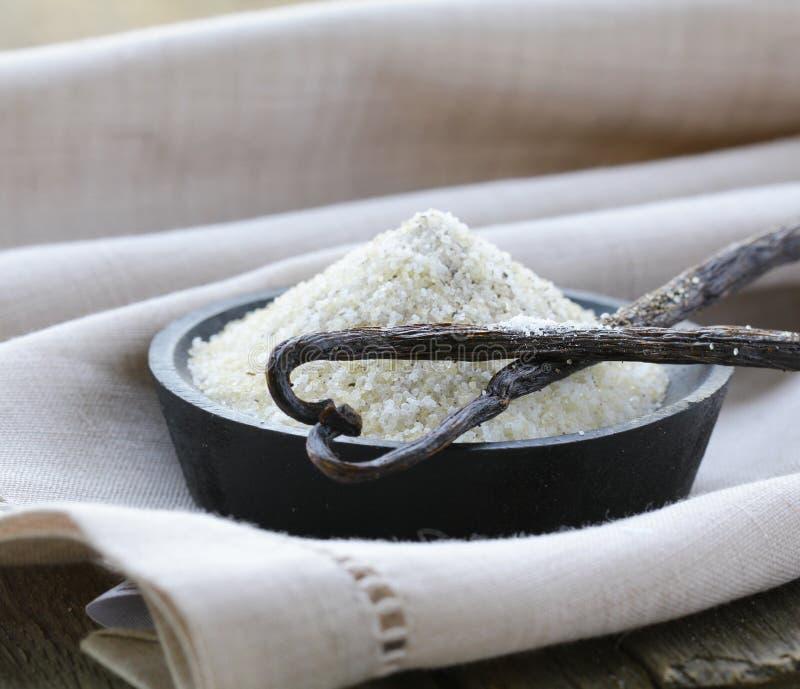Vanillezucker mit natürlichem Stock lizenzfreie stockfotografie