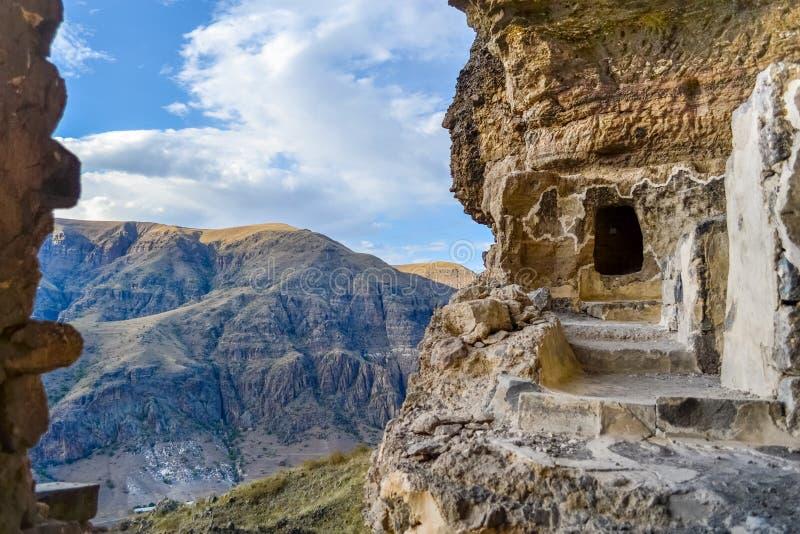 Vanis Kvabebi, a cave monastery near Vardzia in Samtskhe–Javakheti Region, Georgia, Europe royalty free stock photo
