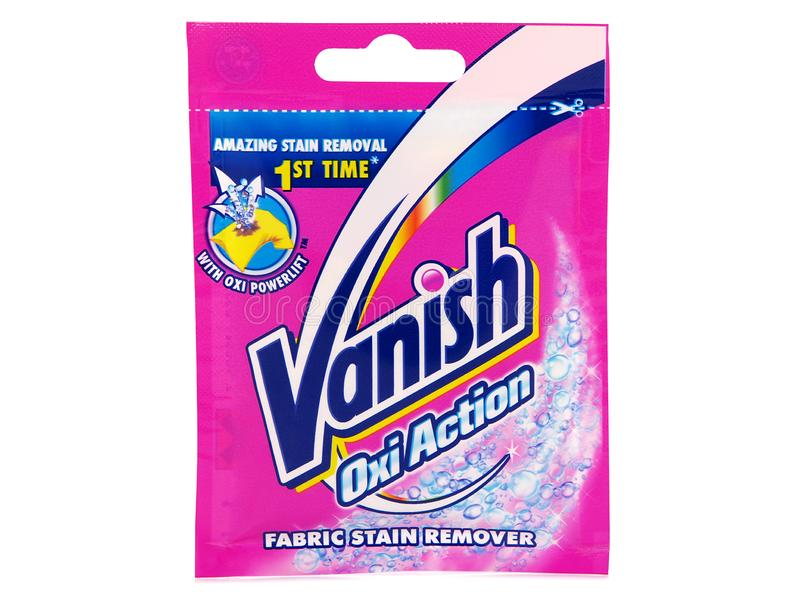 Vanish Oxi Action powder pouch, fabric stain remover royalty free stock images