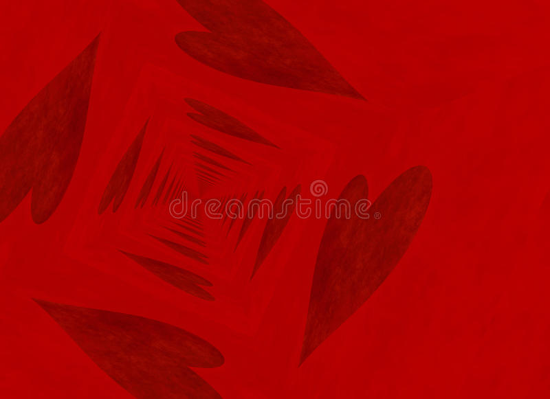 Vanishing point perspective of red heart backgrounds stock illustration